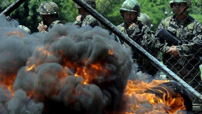 Los militares hondureños, en la Casa Presidencial.