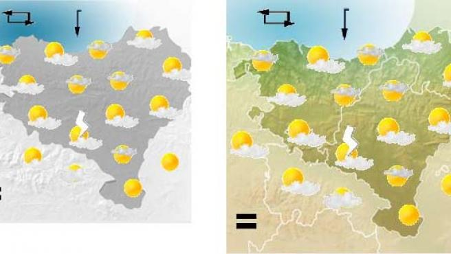 Los mapas del tiempo que hoy, 29 de junio, ha mostrado la web de la ETB. A la izquierda, el antiguo, sin fronteras entre Euskadi y Navarra.