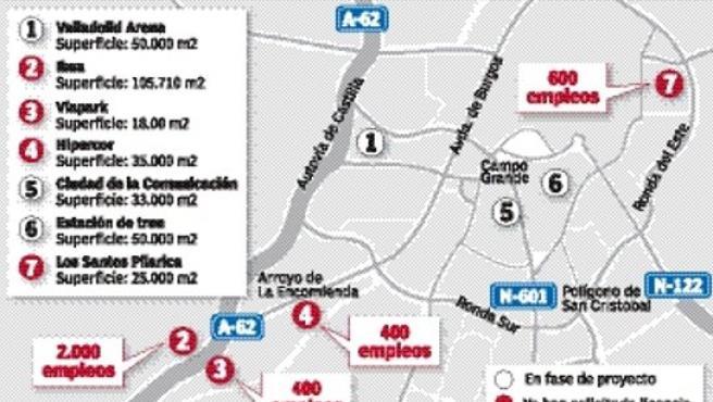 Gráfico de las grandes superficies que quieren instalarse en Valladolid.