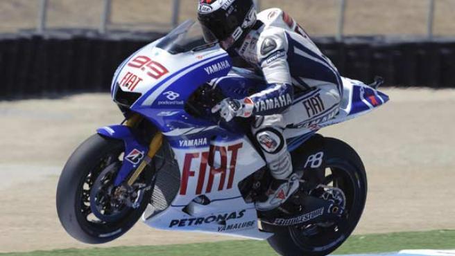 Jorge Lorenzo, piloto de Yamaha, en los entrenamientos del GP de Estados Unidos.