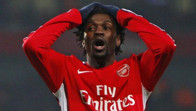 Primer plano del jugador del ya ex jugador del Arsenal, Emmanuel Adebayor, que ha fichado por el manchester City.