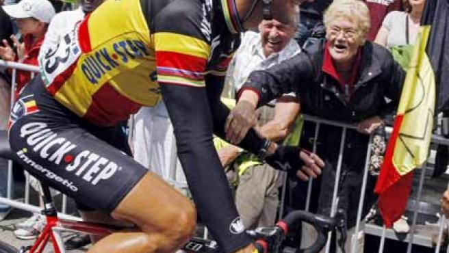 Tom Boonen, de Quickstep, en la decimocuarta etapa del Tour de Francia 2009.