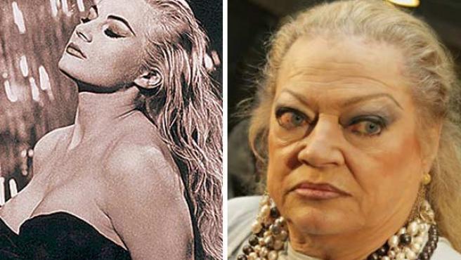 Anita Ekberg, en una imagen actual (derecha), y en la famosa escena de 'La Dolce Vita'.