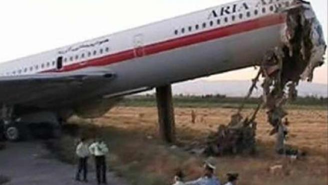 Estado en el que quedó el avión tras el accidente ocurrido en Irán.