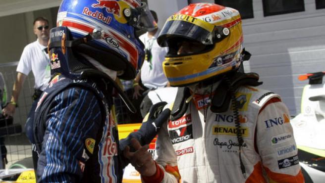 Mark Webber y Fernando Alonso, en Hungría.