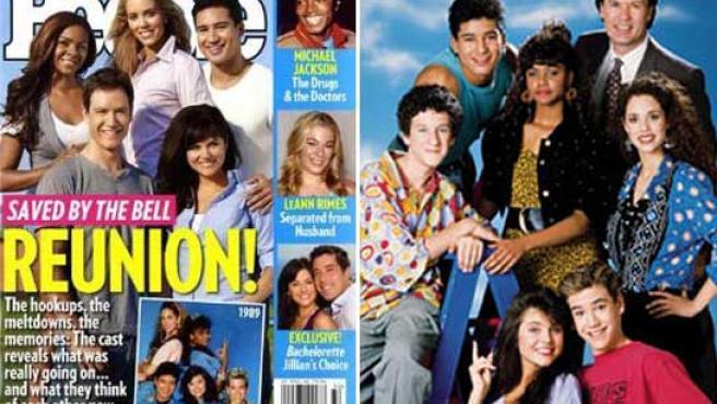Los protagonistas de 'Salvados por la campana', ahora y hace veinte años.