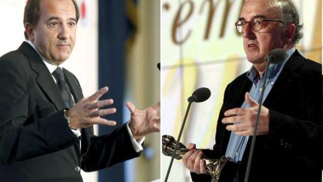 José Miguel Contreras, de La Sexta (a la izda.) y Jaume Roures, de Mediapro.