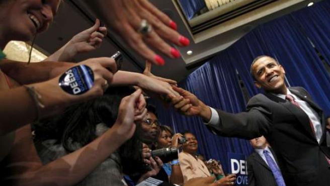 Barack Obama, presidente de los EE UU, en un mitin en Virginia.
