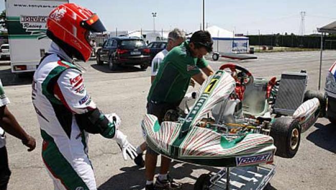 Michael Schumacher en un entrenamiento de karting en Lonato.