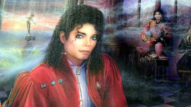 Un retrato de Michael Jackson, expuesto en Harlem.