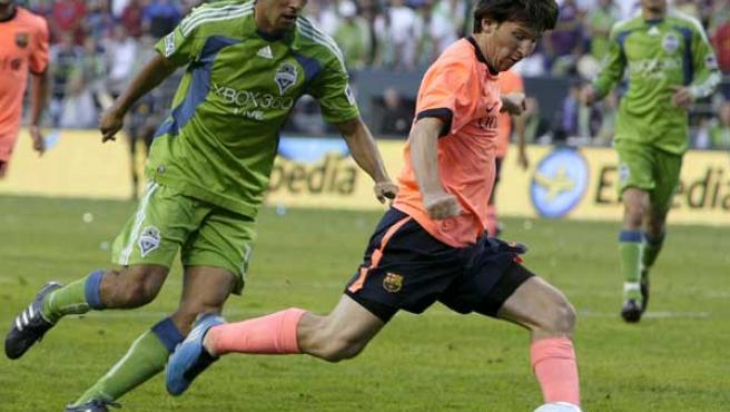 Leo Messi, en el partido contra el Seattle Sounders.