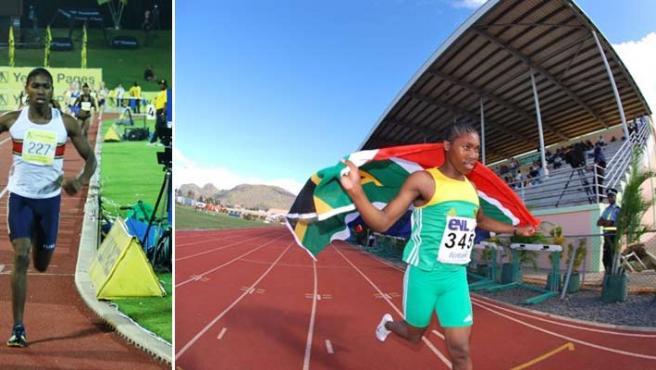 Dos imágenes de archivo de Semenya, tomadas de la web de la Federación Internacional de Atletismo (IAAF: foto de la izq. y de la dcha. ).
