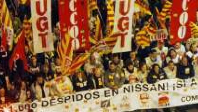 Manifestación de trabajadores de Nissan en Barcelona.