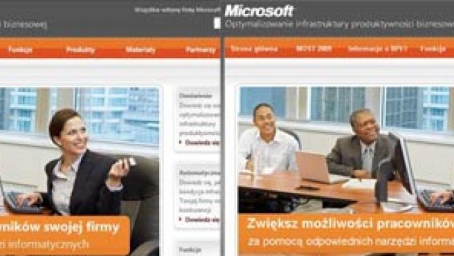 Campaña de Microsoft en Polonia, antes y después