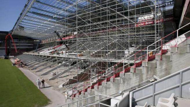 Obras de remodelación del estadio de El Molinón.