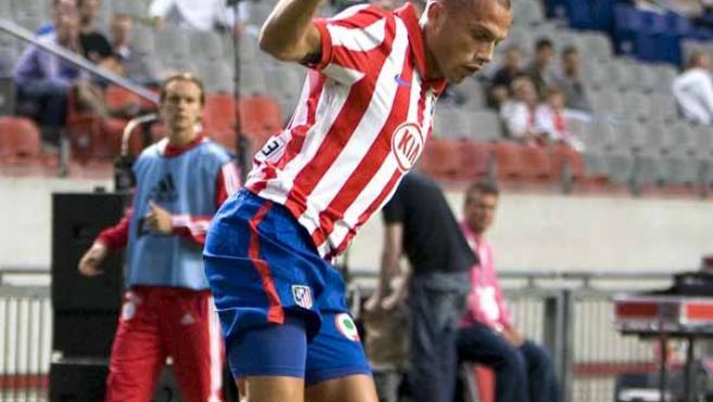 John Heitinga, defensa del Atlético de Madrid, en la pretemporada del conjunto rojiblanco.