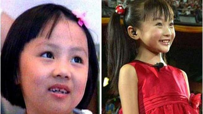 La niña que puso la voz en la ceremonia de apertura de los Juegos Olímpicos (izquierda) y la que apareció en escena (derecha).