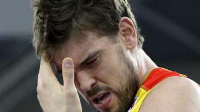 Marc Gasol se lamenta durante el partido del Eurobasket ante Turquía.