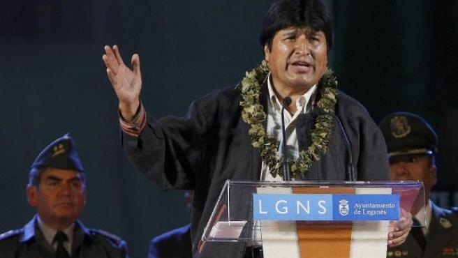 El presidente boliviano, Evo Morales, durante su discurso en Leganés, Madrid.