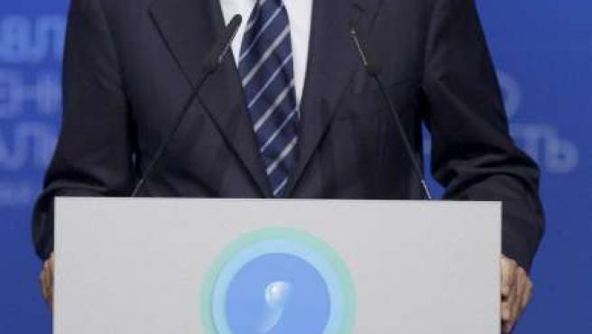 El presidente del Gobierno, José Luis Rodríguez Zapatero, durante su participación en la Conferencia.