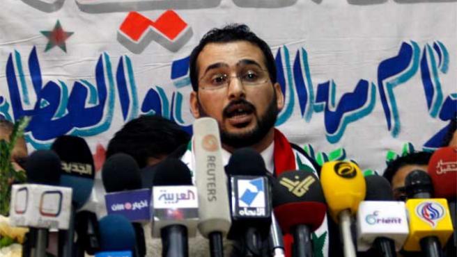 Al Zaidi, tras salir de la cárcel, en la sede de la televisión iraquí Al Bagdadia, para la que trabajaba cuando protagonizó el famoso incidente.