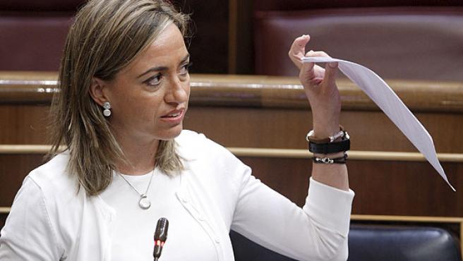 La ministra de Defensa, Carme Chacón, en la sesión de control al Gobierno del Congreso.
