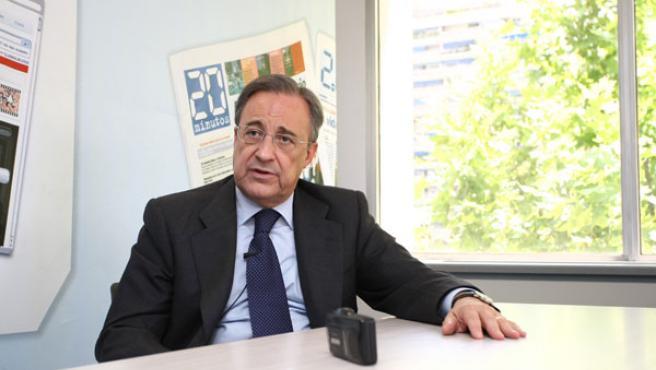 El presidente del Real Madrid Florentino Pérez, en la redacción de 20 Minutos.