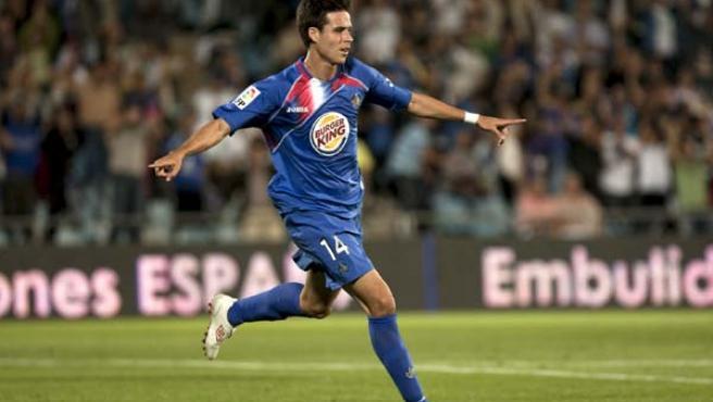 El jugador del Getafe, Manu del Moral, celebra el gol
