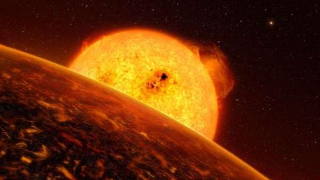Imagen del exoplaneta CoRoT-7b.