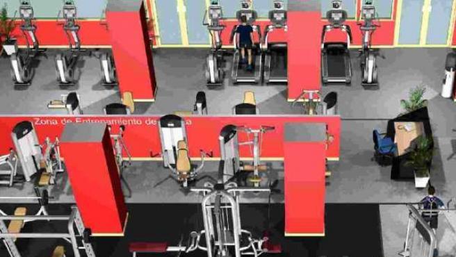 Maqueta del nuevo gimnasio del polideportivo de Artxanda.