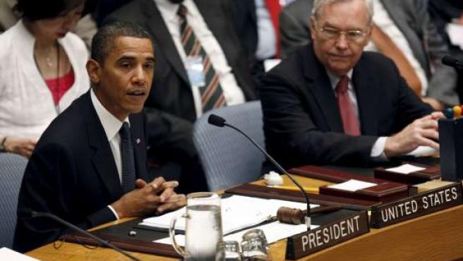El presidente de EE UU, Barack Obama, habla en la reunión del Consejo de Seguridad de la ONU.