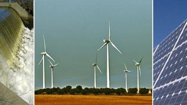 Tres ejemplos de energías renovables: hidroeléctrica, eólica y solar.