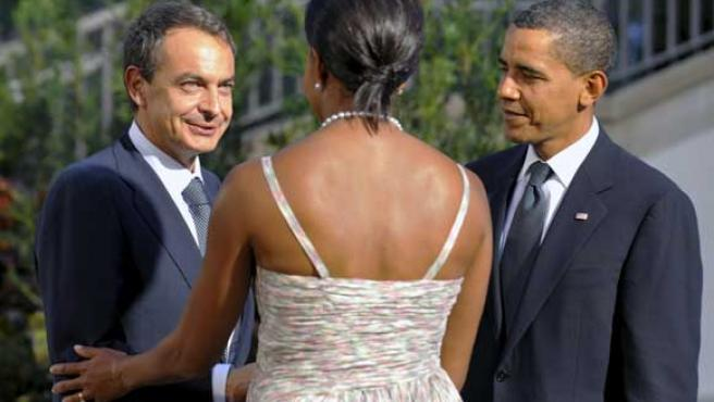 José Luis Rodríguez Zapatero junto al matrimonio Obama.