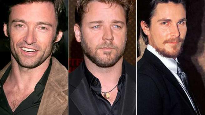 De izquierda a derecha, Hugh Jackman, Russell Crowe y Christian Bale.