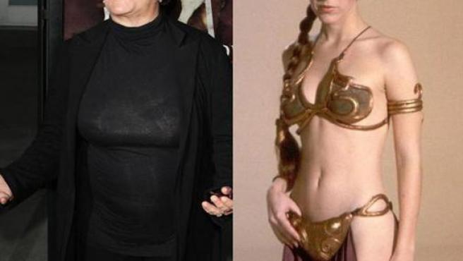Carrie Fisher, en la actualidad (izquierda) y en la famosa pose con el biquini dorado.
