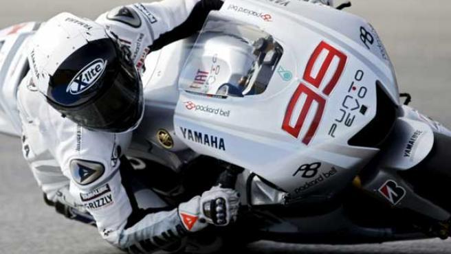 Jorge Lorenzo, piloto de Yamaha, en la clasificación del Gran Premio de Estoril