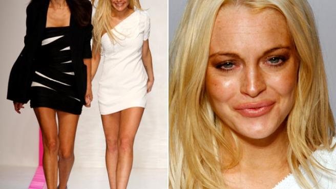 A la izquierda, Lindsay Lohan junto a la diseñadora española Estrella Archs; a la derecha, un primer plano de la actriz.
