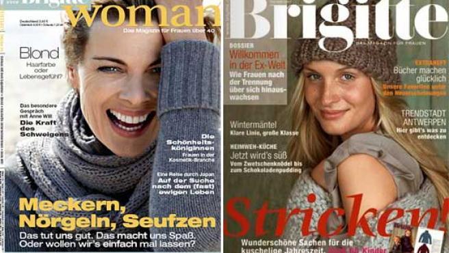Dos portadas de la revista alemana 'Brigitte'.