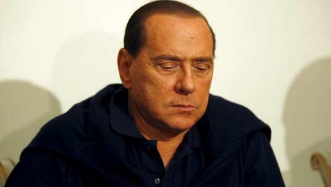 Silvio Berlusconi, durante un encuentro con miembros del Partido de la Libertad, en el palacio Grazioli de Roma.