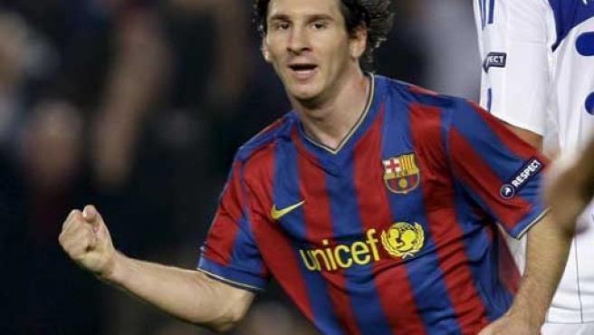 El jugador Lionel Messi celebrando un gol.