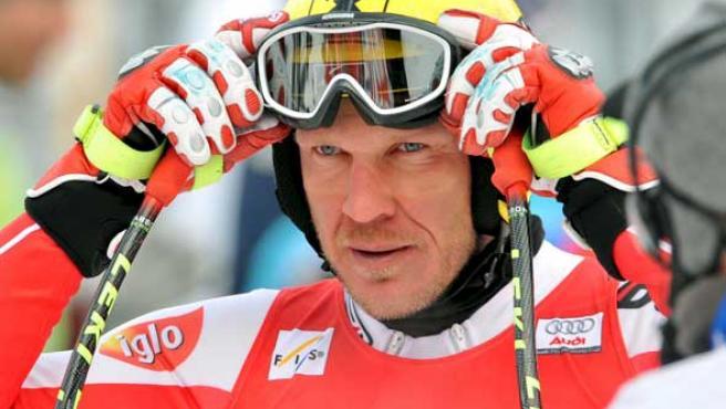 El esquiador austriaco Hermann Maier, durante una competición en Garmisch-Partenkirchen (Alemania).