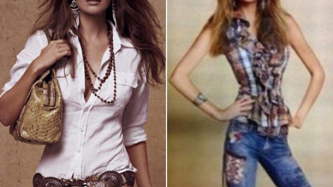 Imágenes de dos campañas de la firma; a la derecha, la polémica fotografía retocada.
