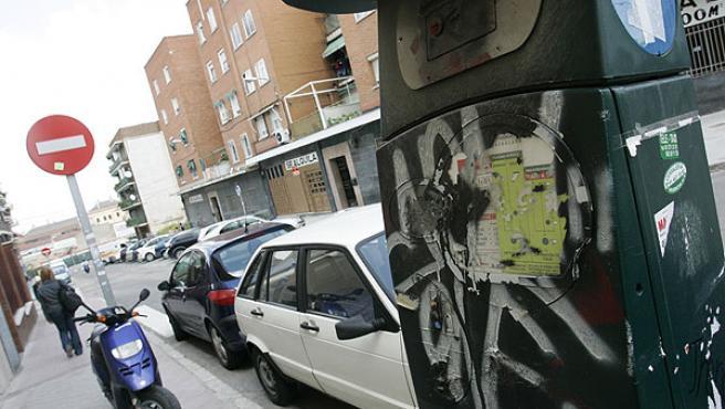 Parquímetros dañados en Carabanchel, en una imagen de archivo