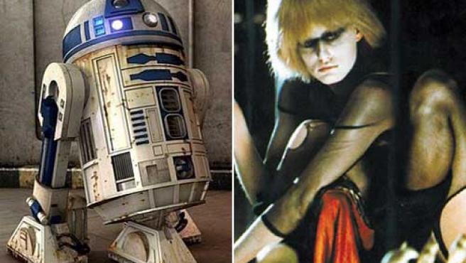 R2D2 ( a la izquierda) y una replicante de 'Blade Runner'.