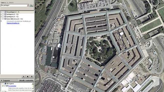 El Pentágono de EE UU, cuartel general de su ejército. (Fuente: Google Earth).
