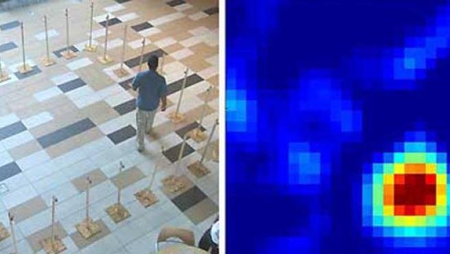 Imágenes de la prueba del nuevo sistema. A la derecha, cómo se muestra en la pantalla del ordenador el cuerpo móvil identificado.