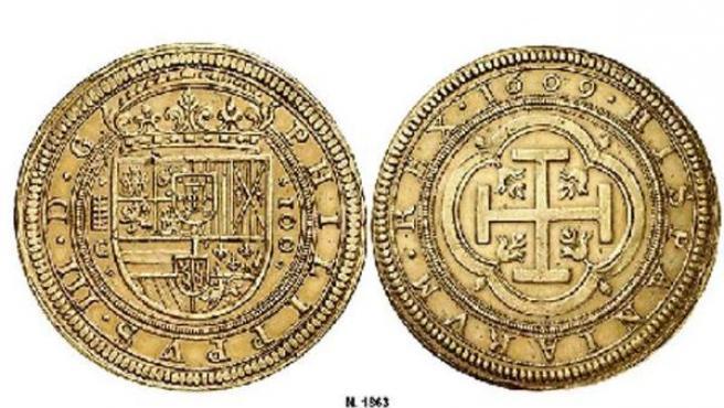 El centén segoviano de 1609 será subastado este jueves.