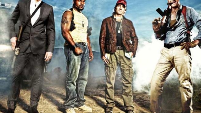 Imagen oficial del nuevo 'Equipo A'; a la derecha del todo, Liam Neeson caracterizado como el coronel John Hannibal Smith.
