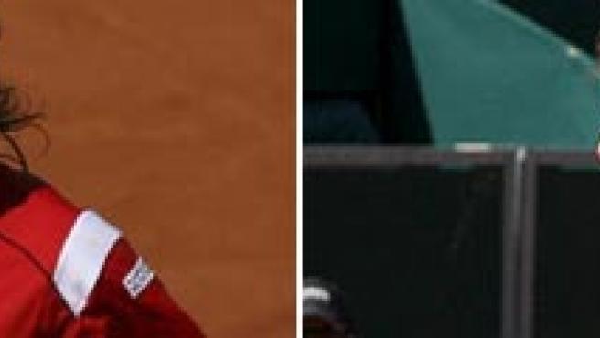 Los tenistas españoles David Ferrer (i) y Juan Carlos Ferrero.