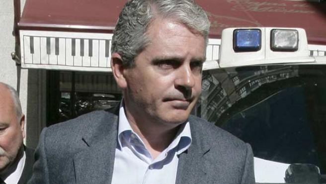El ex secretario de Organización del PP en Galicia Pablo Crespo, a su llegada al TSJ de Madrid, para declarar como imputado en el 'caso Gürtel'.